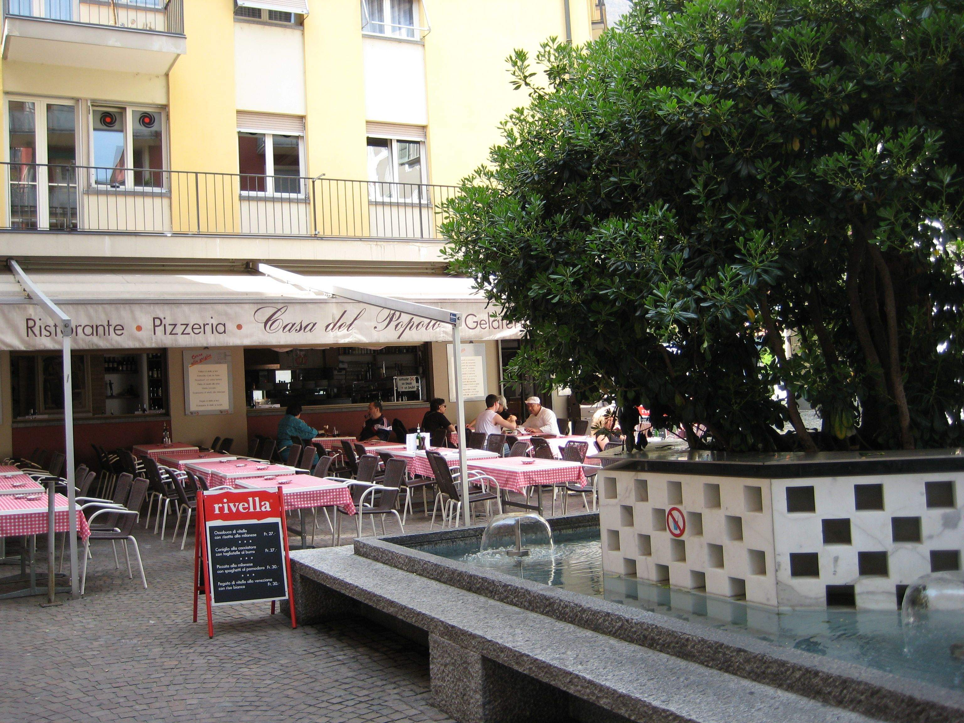 Pizzeria in Locarno, where Andreas and Emilia have lunch after Andreas picks her up at Karla's gallery