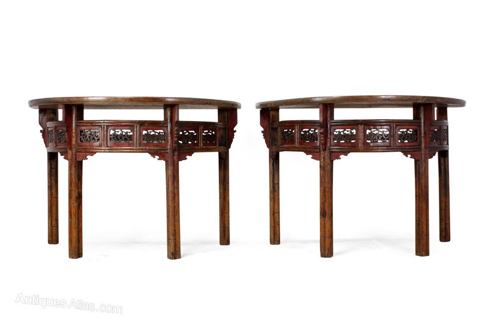 Pair Of Chinese Half Moon Console Tables C1860 Antiques Atlas
