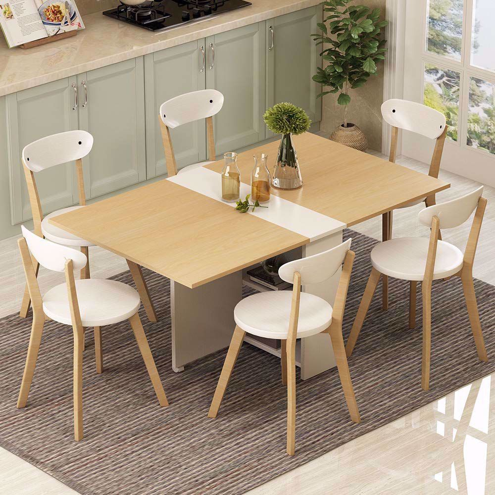 Tribesigns Folding Dining Table 6 Wheels Movable Dinner Table Extendable Table With Cabinets Home Kitchen Furniture Decor Lunch Computer Desk Storage Rack 5 In 2020 Folding Dining Table Movable Table Drop Leaf Dining Table