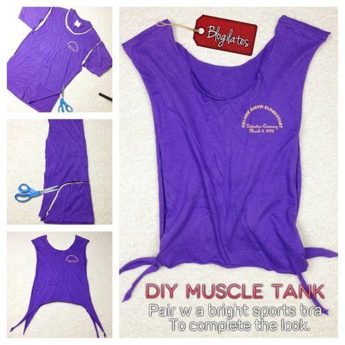 Diy Muscle Tank Repurpose From Old T Shirt Diy Workout Shirt Diy Clothes Diy Workout