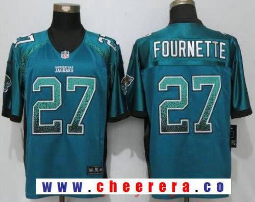 2ff12b9c0 Men s 2017 NFL Draft Jacksonville Jaguars  27 Leonard Fournette Teal Green  Drift Stitched NFL Nike