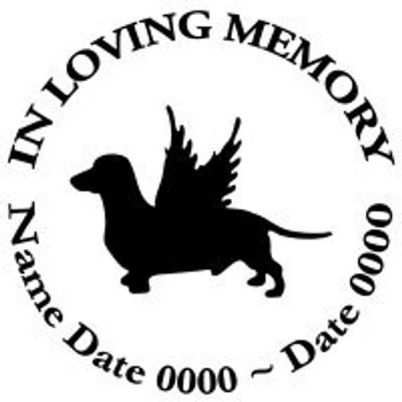 In Loving Memory Round Dachshund Dog Angel Wings Vinyl Decal Sticker