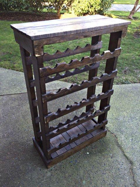 Botellero madera, reciclado botellero rústico de madera, estante del vino,