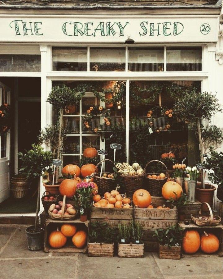 Pumpkins stacked up outside, orange, creams and green, autumn fruit, october season, october aesthetic, urban landscape #fallbeauty