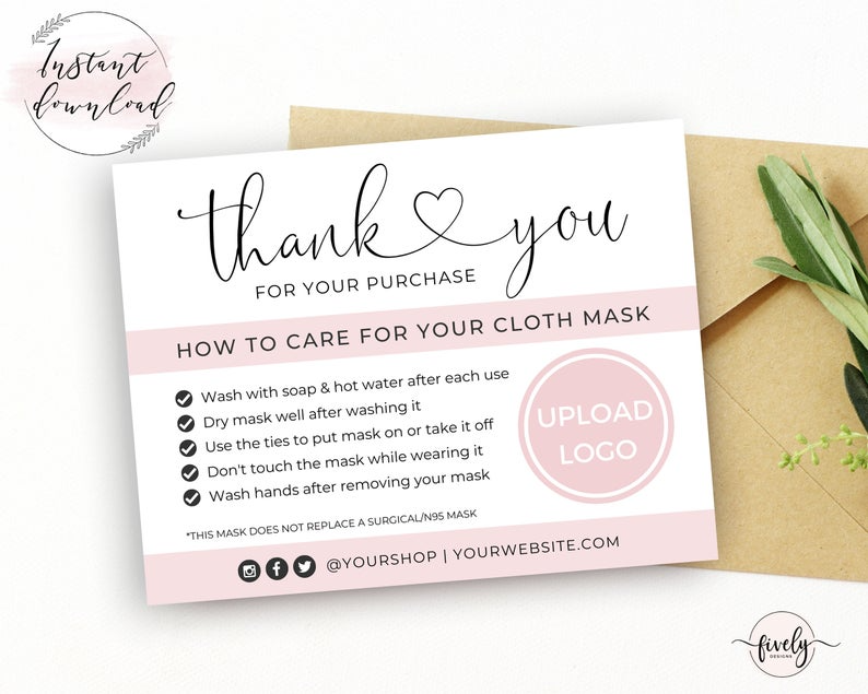 Mask Care Card Instructions Insert Printable Editable Face Etsy Diy Prints Thank You Printable Cards