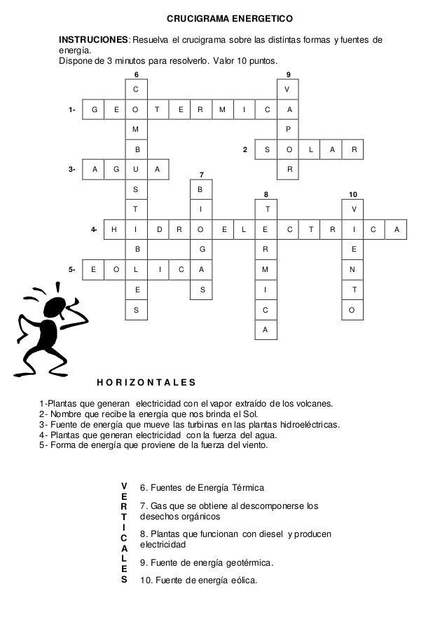 CRUCIGRAMA ENERGETICO INSTRUCIONES Resuelva el crucigrama sobre las - new tabla periodica en blanco y negro pdf