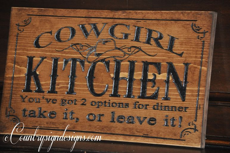 Cowgirl Signs | Cowgirl Kitchen Carved Wood Sign | Country Sign ...