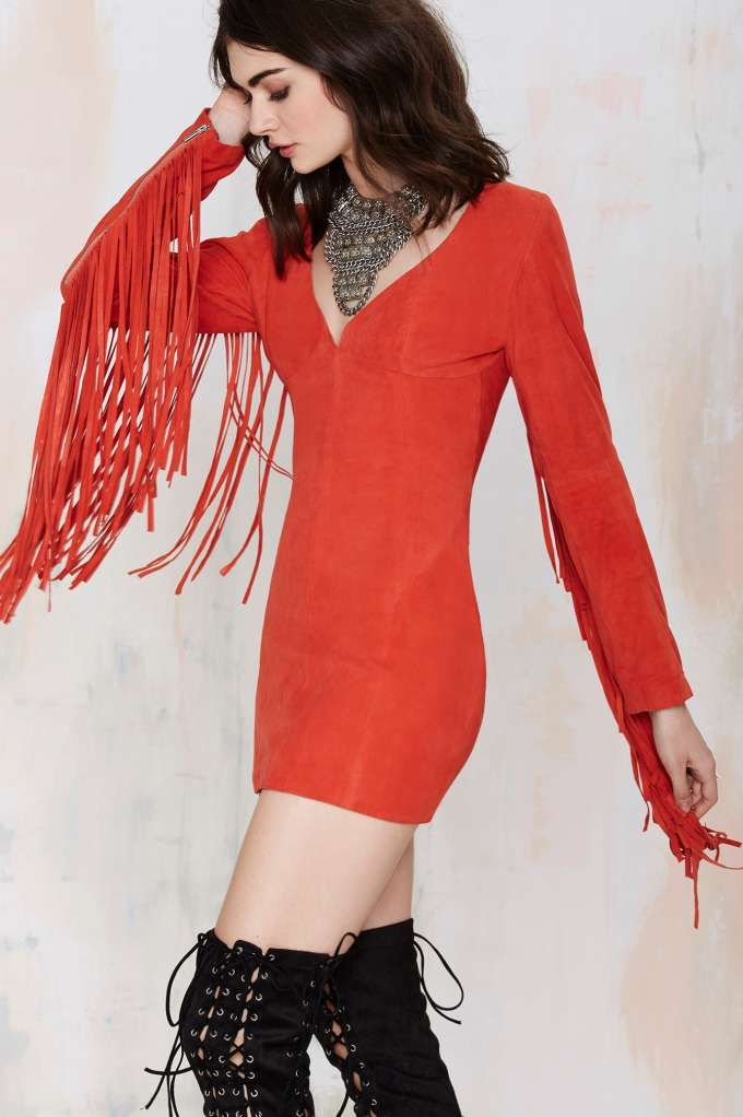 119fab71d1a Nasty Gal Joplin Fringe Suede Dress - Clothes