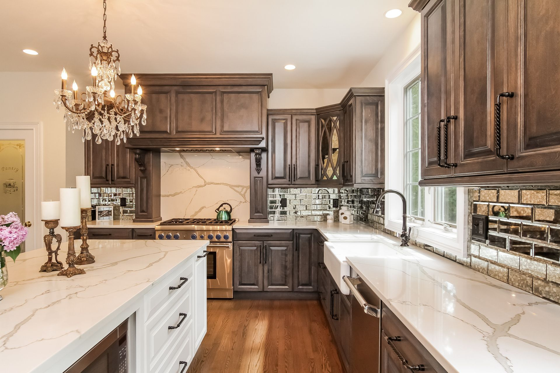 Custom Stained Grey Maple Cabinets with White Island and ... on Maple Cabinets With White Countertops  id=88158