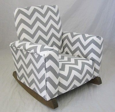 Kids Upholstered Rocking Chair Plywood Lounge Ottoman New Childrens Zig Zag Chevron Gray Toddle Rock For Kid