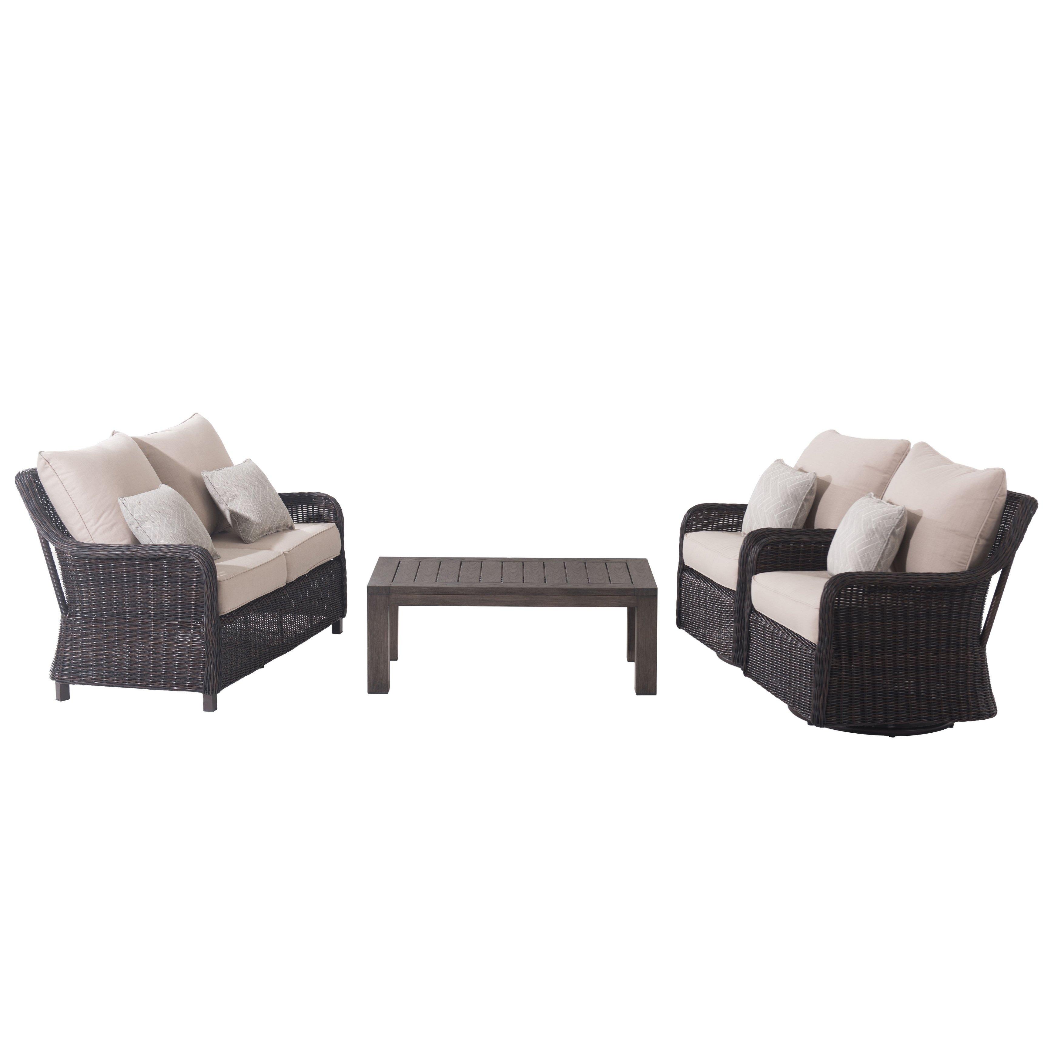 Sunjoy Dighton Outdoor 4 Piece Deep Seating Loveseat Set Beige