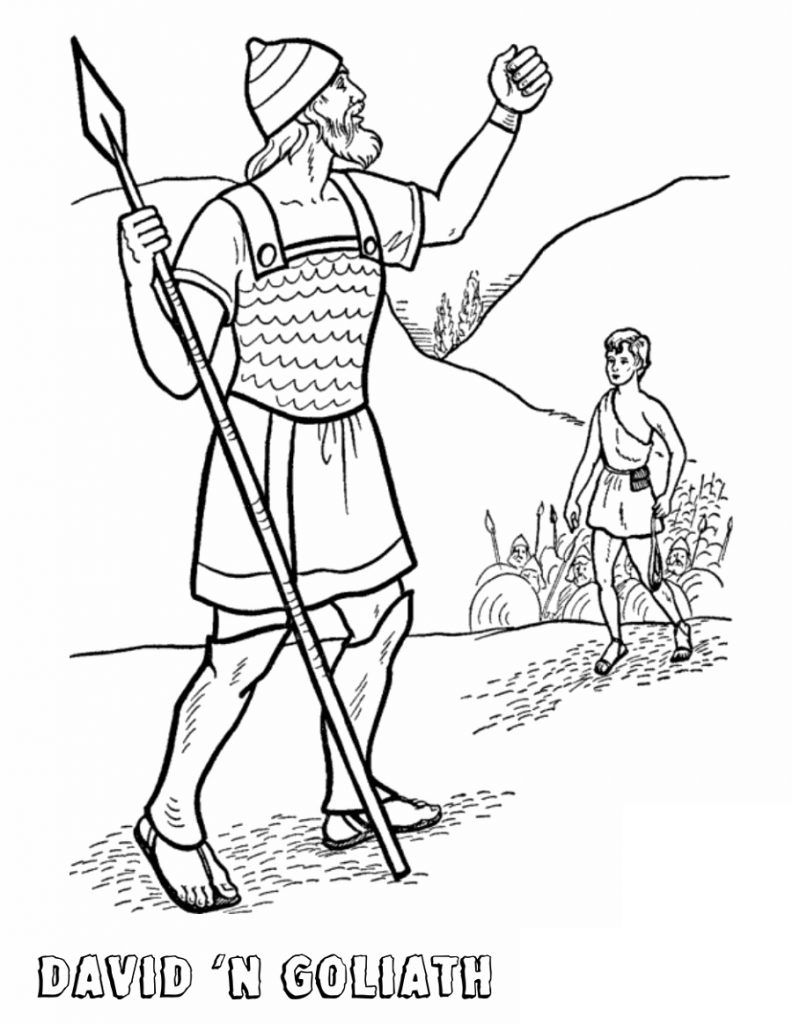 David and Goliath Coloring Pages Bible coloring pages