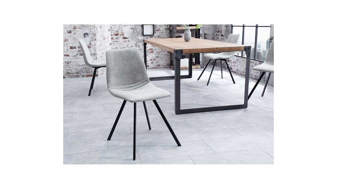 Chaise Design En Tissu Grise Emma Structure Metal Et Revetement Microfibre