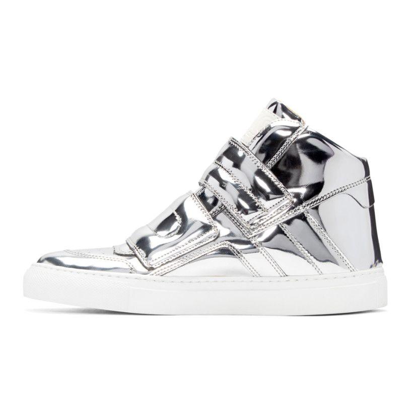 Mm6 Maison Margiela Silver Mirror High Top Sneakers Mousto Sto