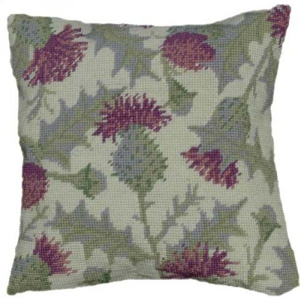 Needlepoint Herb Pillow<BR>Thistle