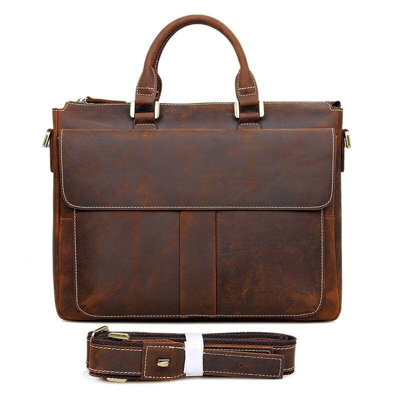 4593ab344 eBay #Sponsored Augus Mens Genuine Crazy Horse Leather Briefcase Handbag 15  Inch Shoulder Bag