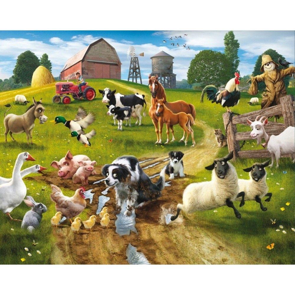 Boerderij behang Walltastic   Farm mural, Farm yard, Animal mural