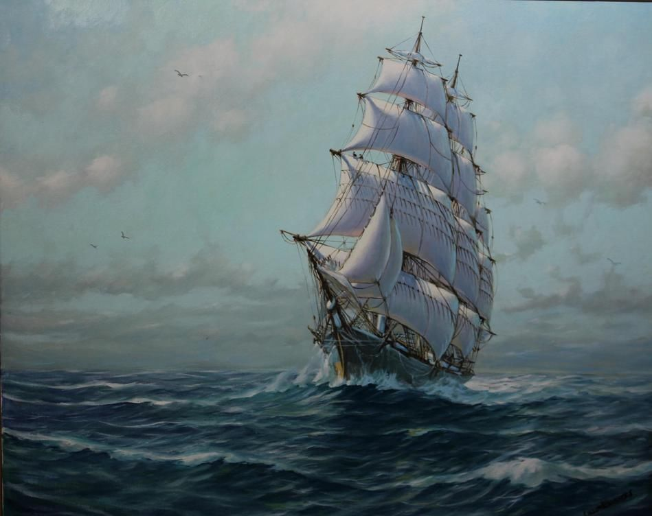 Large Authentic New Bedford Clipper Ship Oil Painting Humbero da Silva Fernandes