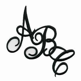 Joy Monogram Small White Iron On Embroidery Letter A