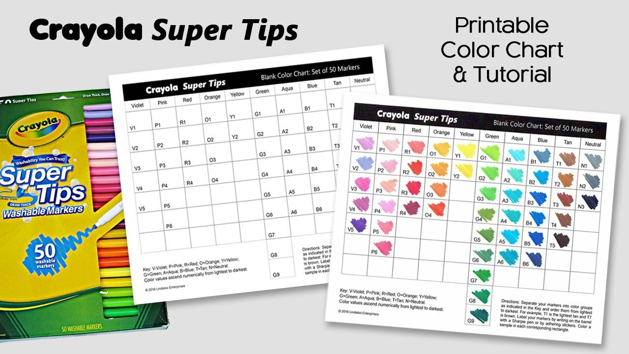 Free Color Chart For Crayola Super Tips Markers Adult Coloring