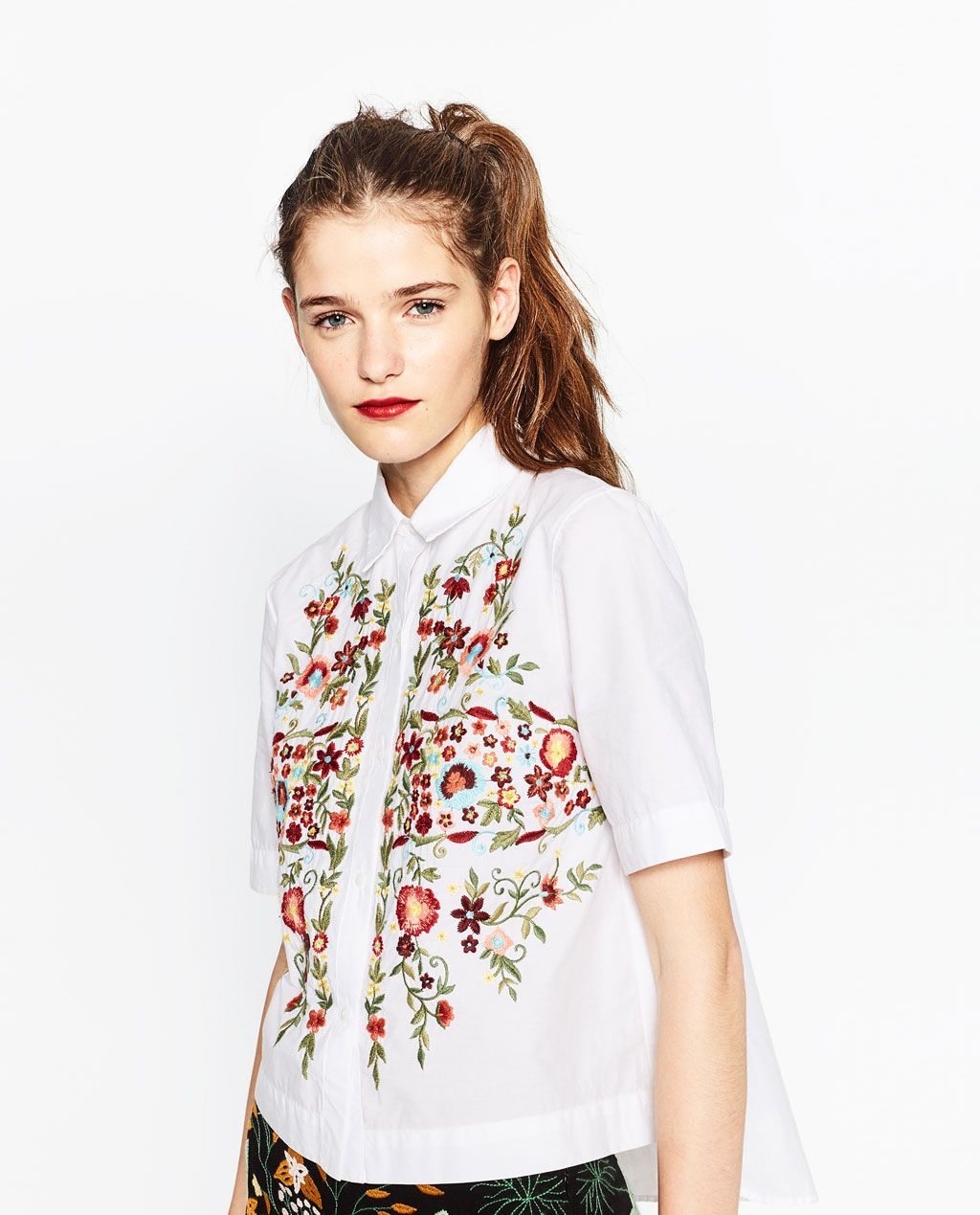 063ffa95 EMBROIDERED POPLIN SHIRT-View all-TOPS-WOMAN | ZARA United States ...