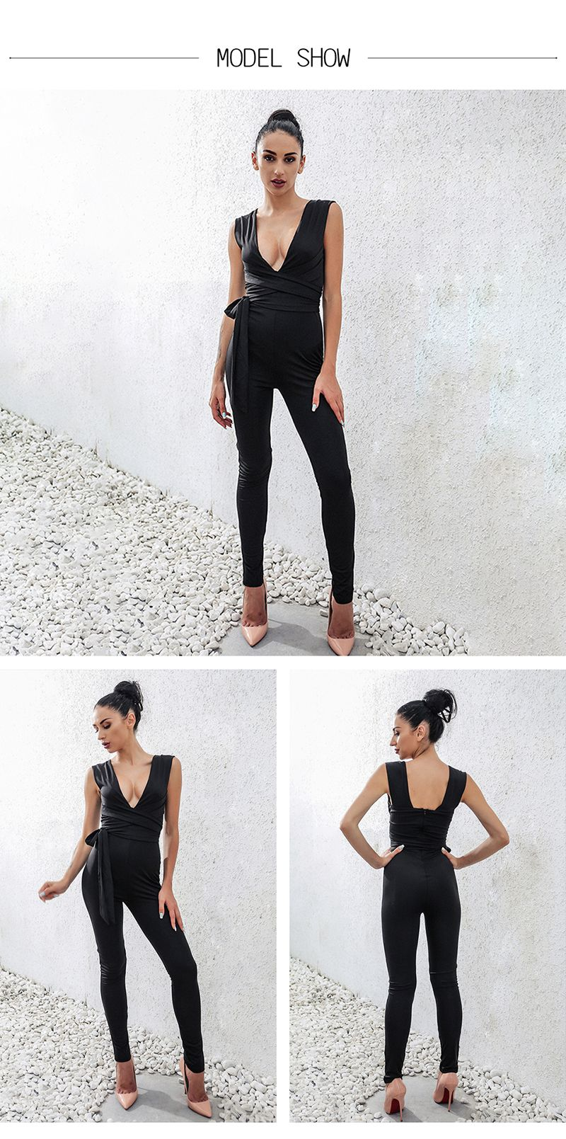 b050d9a0ad2 Women Bodysuit Rompers With Belt Club Wear Rompers Womens Jumpsuit Sexy  Deep V Neck Full Length Body on Luulla