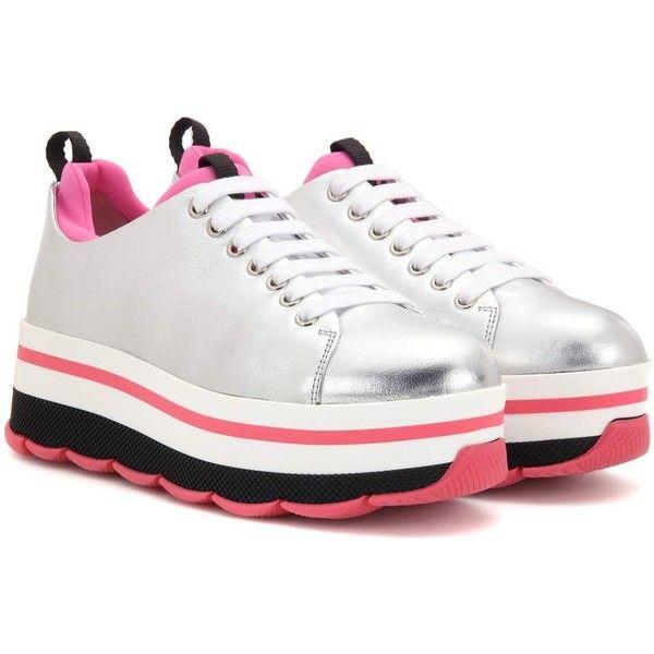 Wave metallic leather platform sneakers Prada ZEoDUqx5