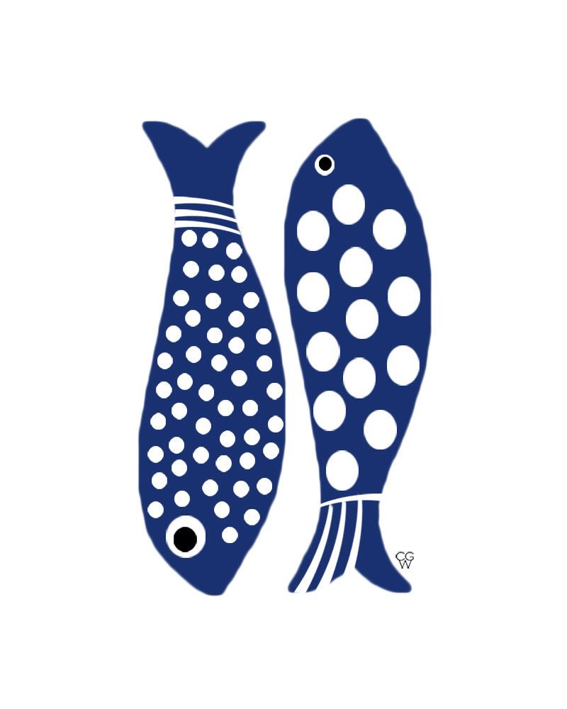 "Folk Art Still Life Nautical Giclee Print ""Blue Fish"" by SundayMorningStudio on Etsy https://www.etsy.com/listing/215236886/folk-art-still-life-nautical-giclee"