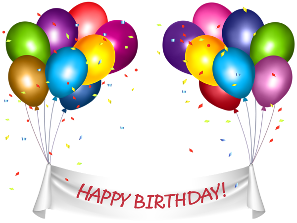 Transparent Happy Birthday Banner And Baloons Png Clip Art With