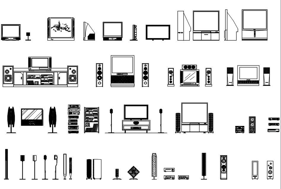 Free equipment blocks sound system and tv free cad for Free online cad system