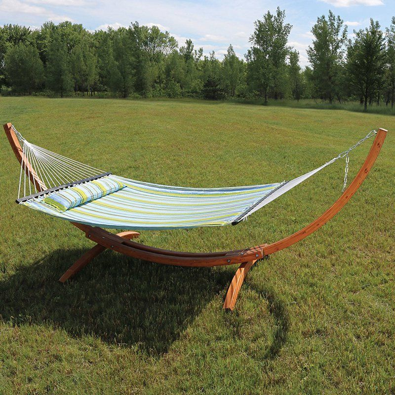 sunnydaze decor quilted double fabric 12 ft  hammock with curved arc wood stand   btfhb sunnydaze decor quilted double fabric 12 ft  hammock with curved      rh   pinterest