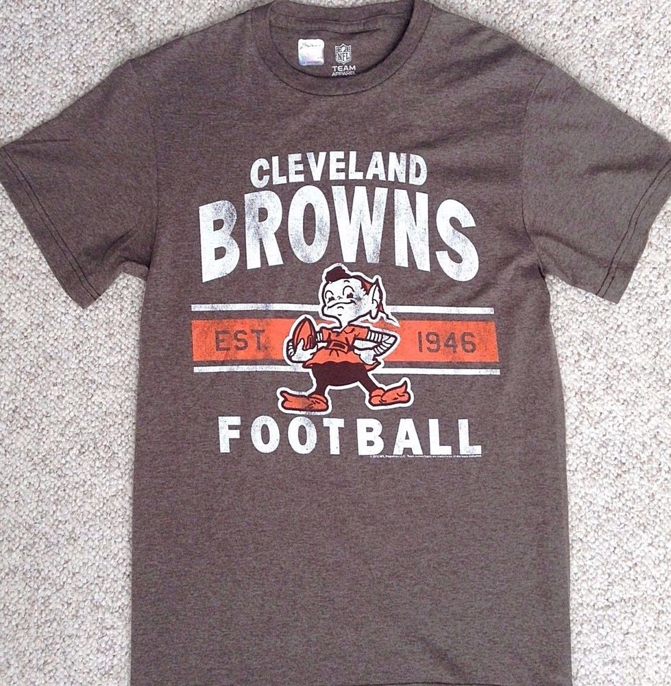 New CLEVELAND BROWNS BROWNIE THE ELF T-SHIRT Faded Heather-Brown UNISEX  ADULT SM  NFL  ClevelandBrowns 64c8eeb53