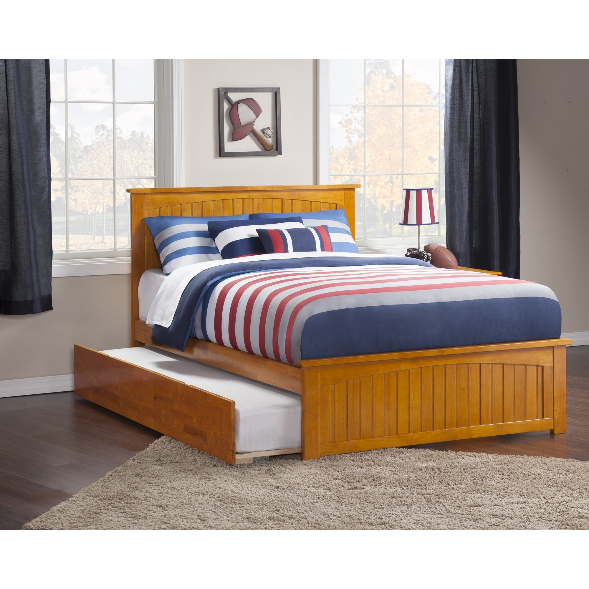 bc16cd570d2ce Atlantic Nantucket Caramel Latte Full Bed with Matching Footboard and Urban  Trundle Bed (Size)