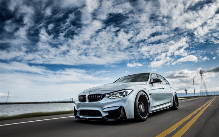 Download Wallpapers Bmw M3 2018 F80 Exterior Road Speed Front View Sports Sedan Tuning M3 German Cars Bmw Besthqwallpapers Com Bmw Sports Sedan Bmw M3