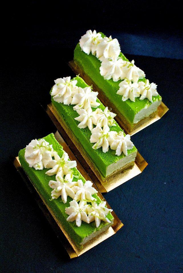 Cheesecake Citron Vert almond shortbread, citrus jelly, lime cheesecake, white chocolate whipped cream by Elena Krasnova pâtissier