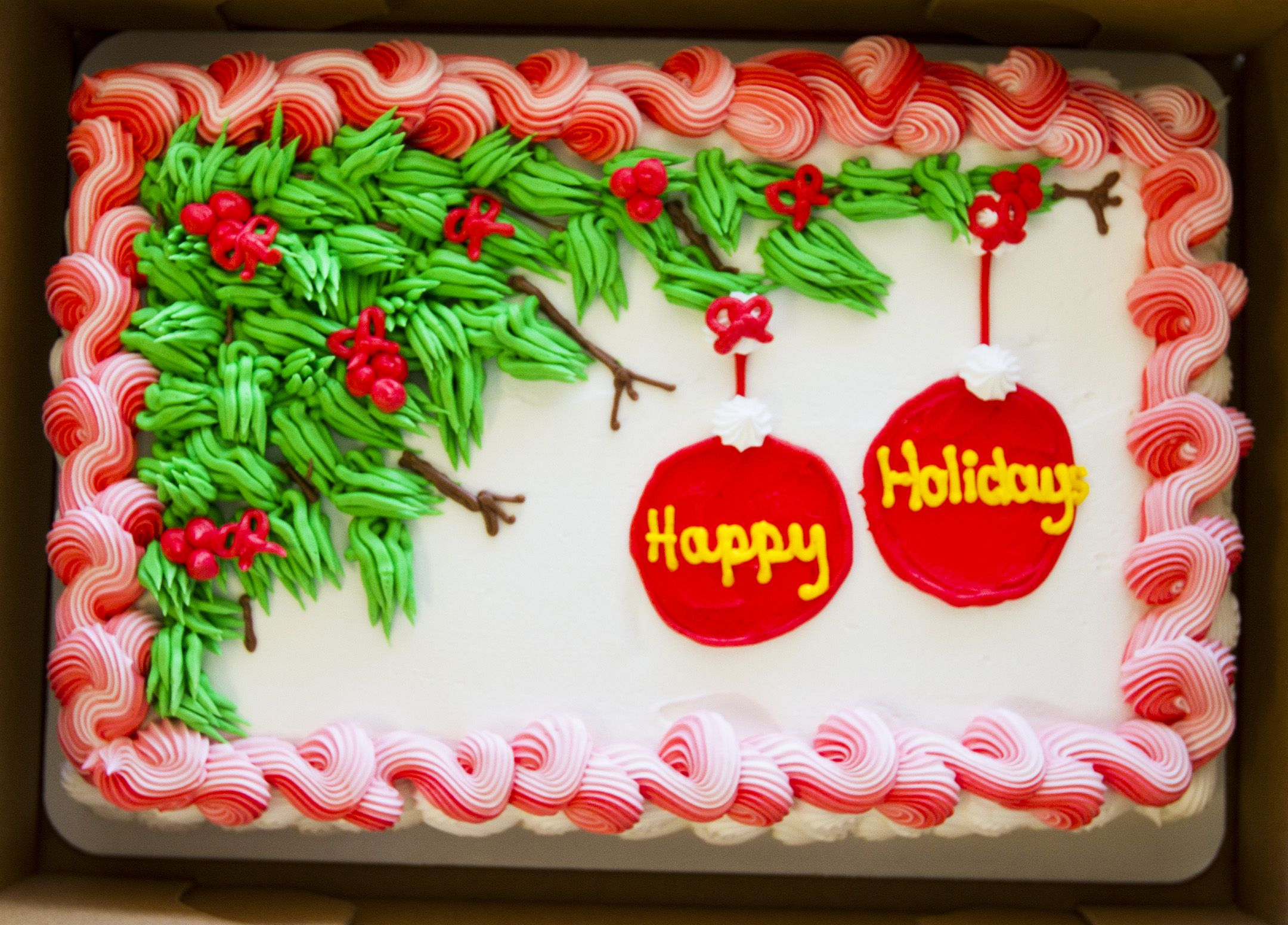 Christmas Sheet Cake Decorating Ideas : A Dewey s holiday sheet cake! Cake # 009. Christmas and ...