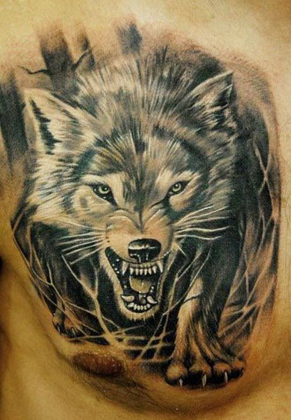 un tatouage de loup 18 tattooed wolf tattoos tattoos. Black Bedroom Furniture Sets. Home Design Ideas