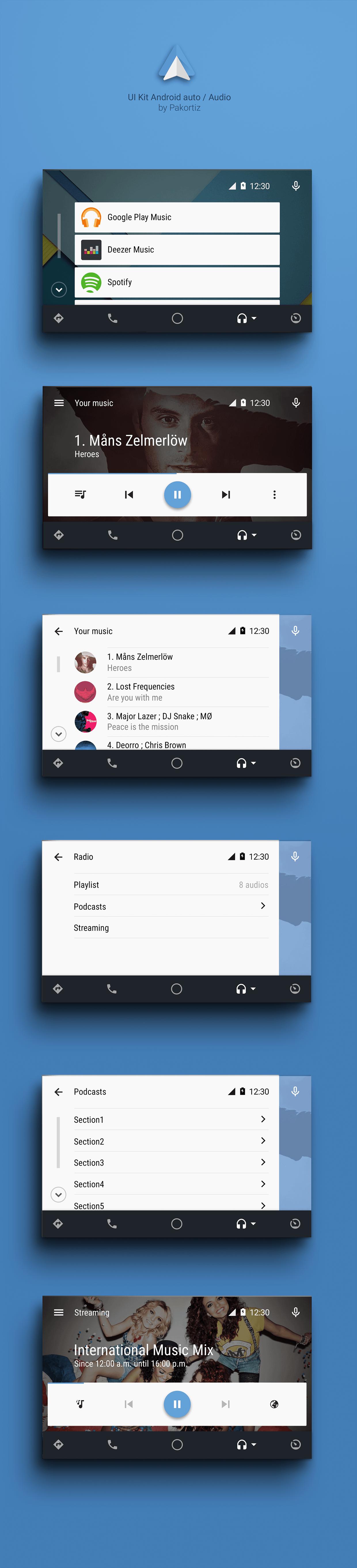 UI Kit Android auto / Audio on Behance | interface design | Android
