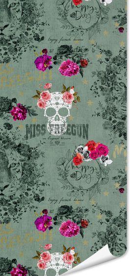 Papier peint MISS FREE GUN coloris vert grisé