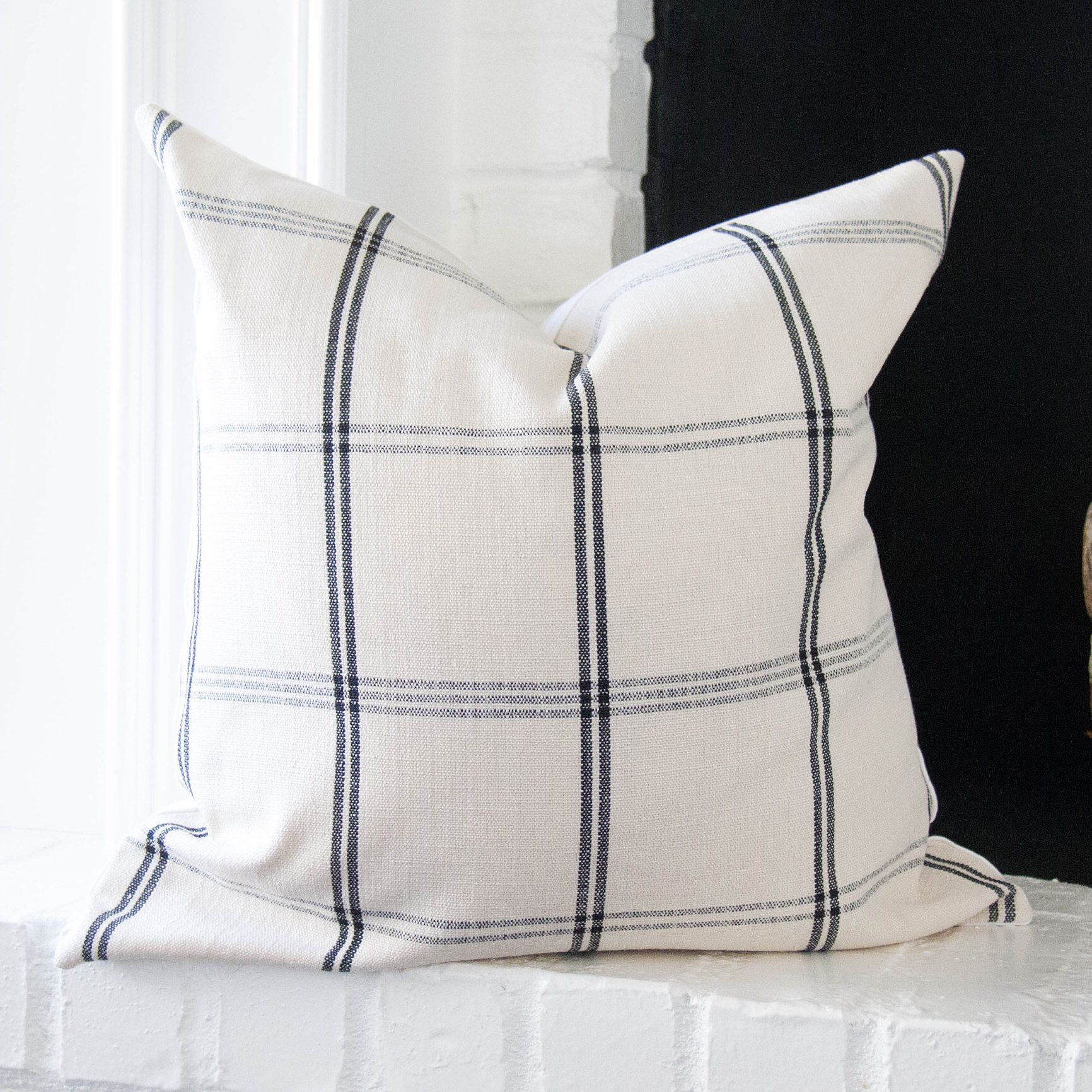 Black and off white plaid pillow cover 20x20 modern