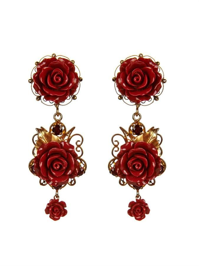 Rose and crystal-drop clip-on earrings Dolce & Gabbana Lc5DX