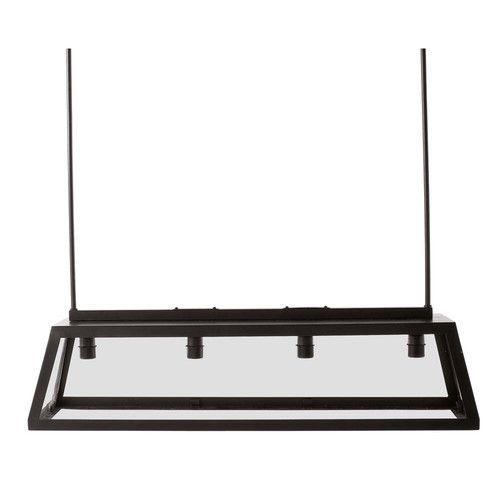 Suspension en m tal et verre noire l 102 cm usine for Luminaire suspension metal