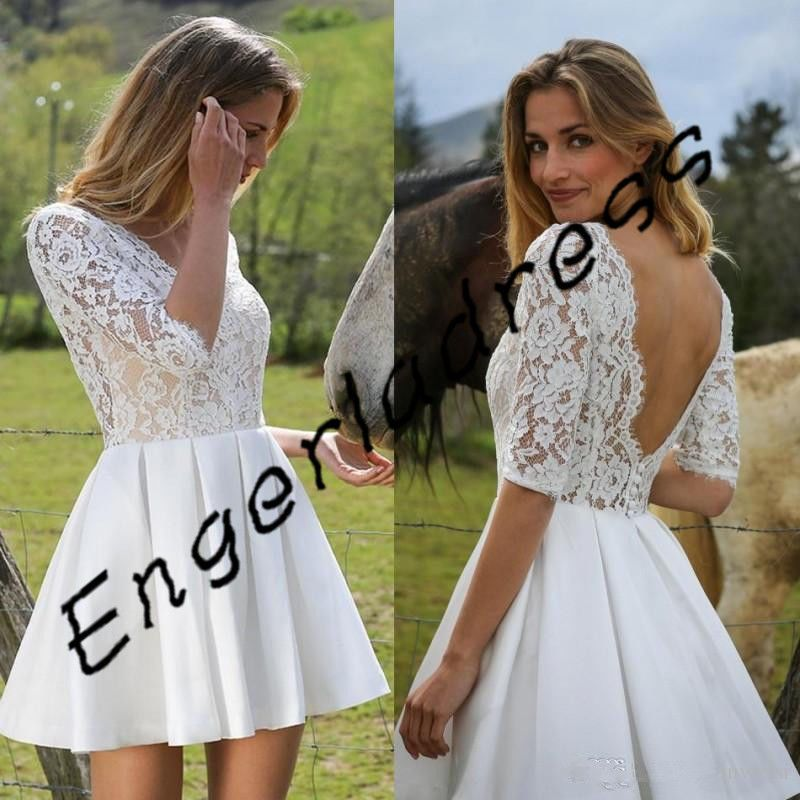 ce293dc7ed4 Awesome Awesome Short Low Back Wedding Dress Half Sleeves Bridal Gown  Custom Size 6 8 10