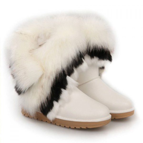 Gorgeous PU Leather and Faux Fur Design Women s Snow Boots  0236d9bf034c