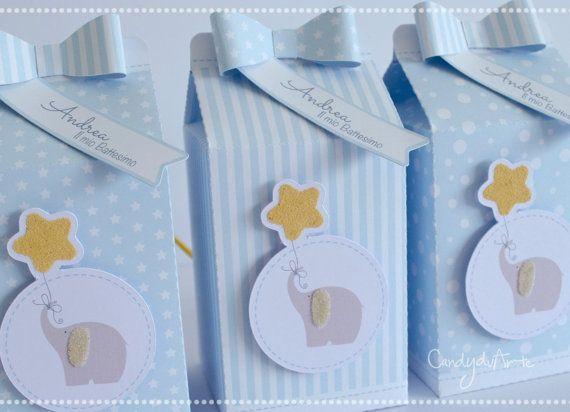 Scatole Porta Confetti Milk Baby Bomboniera Battesimo Azurro Elefante Stella Recuerdos Baby Shower Elephant Baby Shower Boy Baby Shower
