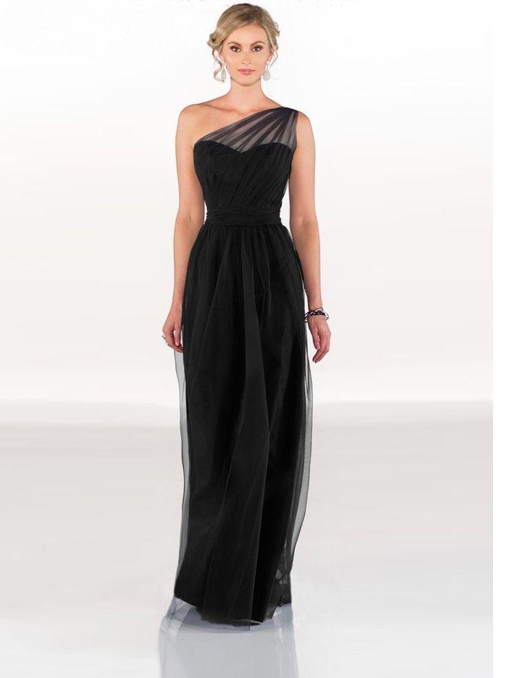 Black Floor Length One Shoulder Scalloped Tulle Long Bridesmaid Dresses