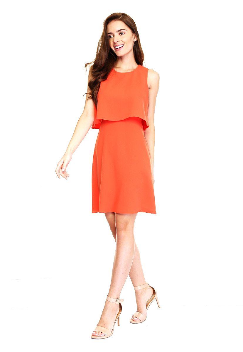 Vestido Naranja de Calvin Klein | Vestido civil | Pinterest