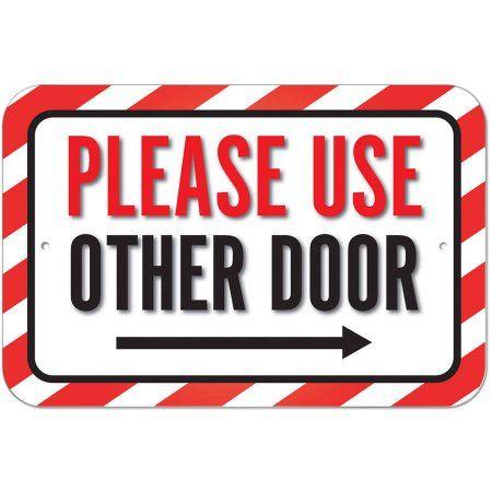 Please Use Other Door Right Arrow Sign Walmart Com Arrow Signs Door Signs Plastic Signs