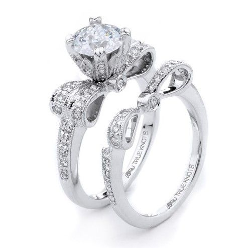 Bow inspired engagement/wedding ring <3