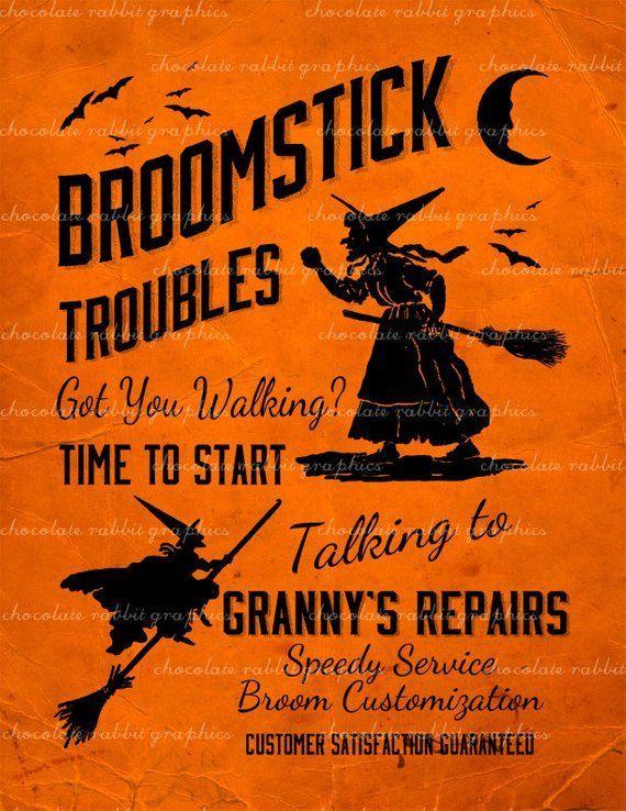 Halloween Witch Vintage Sign Broom Repair Instant Digital Download Collage Sheet Printable Sc... Halloween Witch Vintage Sign Broom Repair Instant Digital Download Collage Sheet Printable Scrapbook Image Clip Art INSTANT DOWNLOAD,